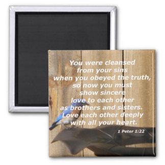 1 Peter 1:22 Square Magnet