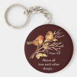 1 Peter 4:8 Love Each Other Deeply Scripture Birds Basic Round Button Key Ring