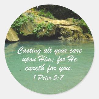 1 Peter 5:7 Classic Round Sticker