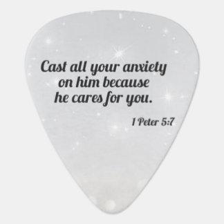 1 Peter 5:7 Standard Guitar Pick