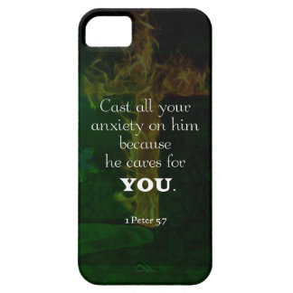 1 Peter 5:7 Uplifting Bible Verses Quote iPhone 5 Cases