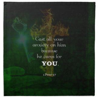 1 Peter 5:7 Uplifting Bible Verses Quote Napkin
