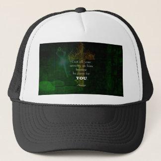 1 Peter 5:7 Uplifting Bible Verses Quote Trucker Hat