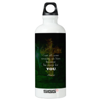 1 Peter 5:7 Uplifting Bible Verses Quote Water Bottle