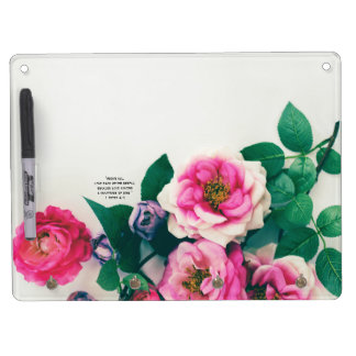 1 Pink Wild Rose Flower Bouquet Love Bible Verse Dry Erase Board With Key Ring Holder