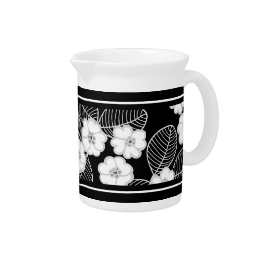 1 Pitcher Damask Floral Grey Black White
