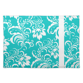 1 Placemats Teal Blue White Damask Floral Placemats