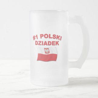 #1 Polski Dziadek Frosted Glass Beer Mug