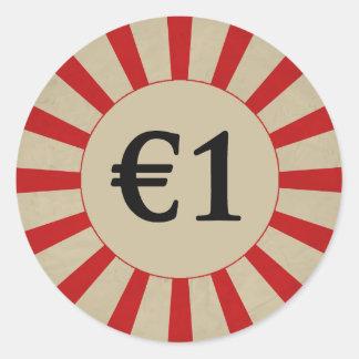 €1 (Pound) Round Glossy Price Tag Round Sticker