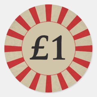£1 (Pound) Round Glossy Sticker