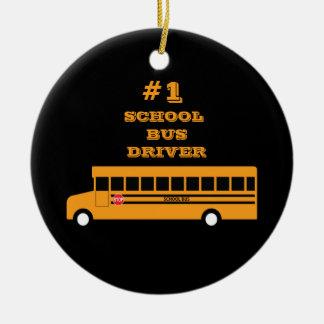 #1 School Bus Driver Ceramic Ornament