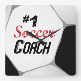 #1 Soccer Coach Large Ball Square Wall Clock