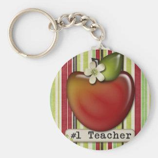 #1 teacher apple key ring