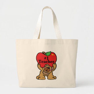#1 Teacher Large Tote Bag