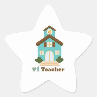 #1 Teacher Star Sticker