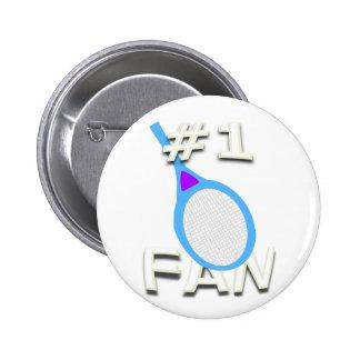 #1 Tennis Fan Button (light blue racket)