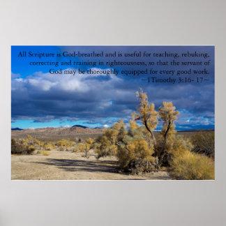 1 Timothy 3:16, 17 Smoke Bush Poster