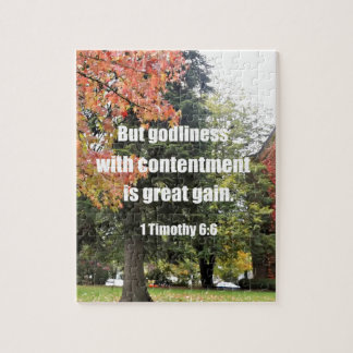 1 Timothy 6:6 But Godliness with contentment is Jigsaw Puzzle