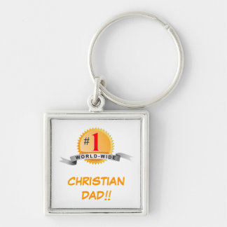 #1 WORLD WIDE CHRISTIAN DAD!!... RELIGIOUS KEYCHA Silver-Colored SQUARE KEY RING