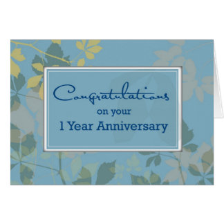 1 Year Employee Anniversary, Leaves Card