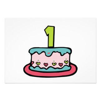 1 Year Old Birthday Cake Custom Invitations