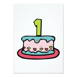 1 Year Old Birthday Cake 5x7 Paper Invitation Card