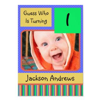 "1 Year Old Birthday Party Invitations BOY 5"" X 7"" Invitation Card"