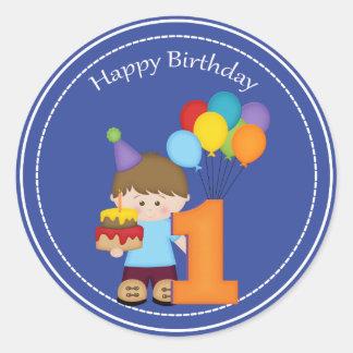 1 year old boys Happy Birthday Sticker