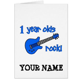 1 year olds rock! Personalised Baby's 1st Birthday Greeting Card