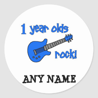 1 year olds rock! Personalised Baby's 1st Birthday Round Sticker