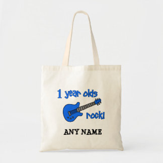 1 year olds rock! Personalized Baby's 1st Birthday Budget Tote Bag