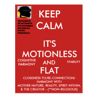 "(#1b) FEPE ""KEEP CALM IT'S MOTIONLESS AND FLAT"" Postcard"