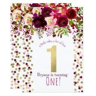 1st 1 Birthday Party Gold Burgundy Bold Floral Card