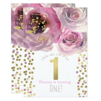1st 1 Birthday Party Pink & Gold Modern Floral Card