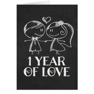 1st Anniversary Chalk board couple Card