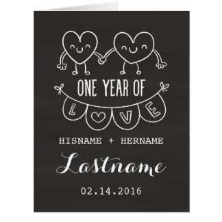1st Anniversary Gift Chalk Hearts Greeting Card