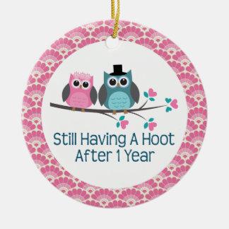 1st Anniversary Owl Wedding Anniversaries Gift Ceramic Ornament