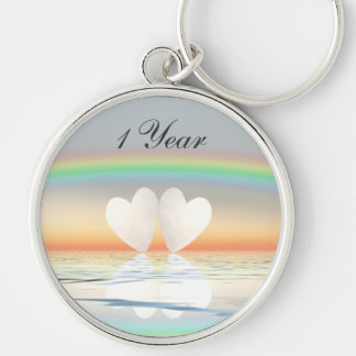 1st Anniversary Paper Hearts Silver-Colored Round Key Ring