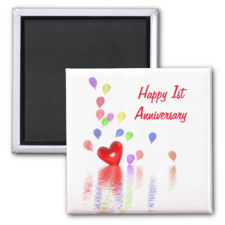 1st Anniversary Red Heart and Balloons Magnet