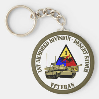 1st Armored Division [1st AD] Basic Round Button Key Ring
