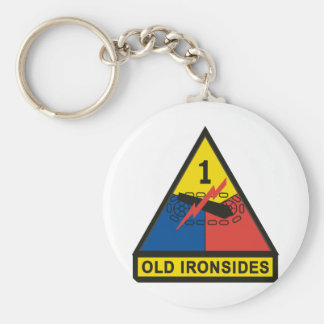 1st Armored Division Basic Round Button Key Ring