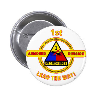 """1ST ARMORED DIVISION """"OLD IRONSIDES"""" 6 CM ROUND BADGE"""