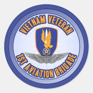 1st Avn Bde Master Aviator Classic Round Sticker