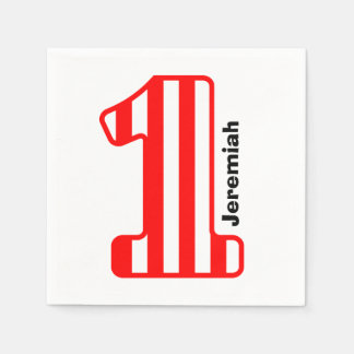 1st BABY Birthday Red Striped Big Number A10 Paper Napkins
