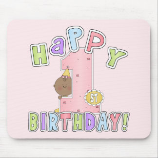 1st Birthday African American Girl Mousepads