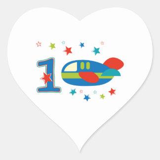 1st Birthday Airplane Heart Sticker