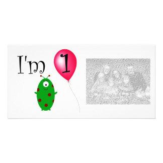 1st Birthday alien red balloon Photo Greeting Card