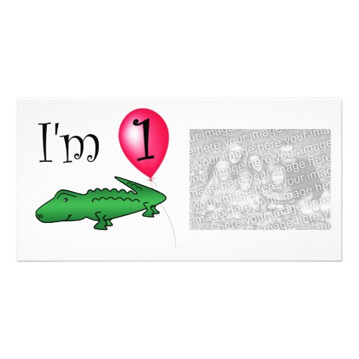 1st Birthday alligator red balloon Customized Photo Card