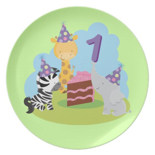 1st Birthday Animal Picnic Keepsake Plate
