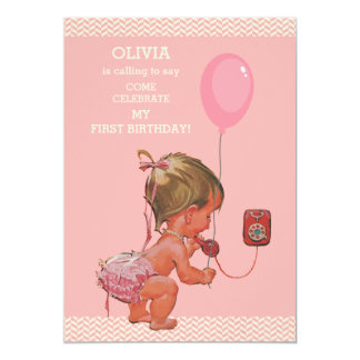 1st Birthday Baby Girl Phone Balloon Chevrons Card